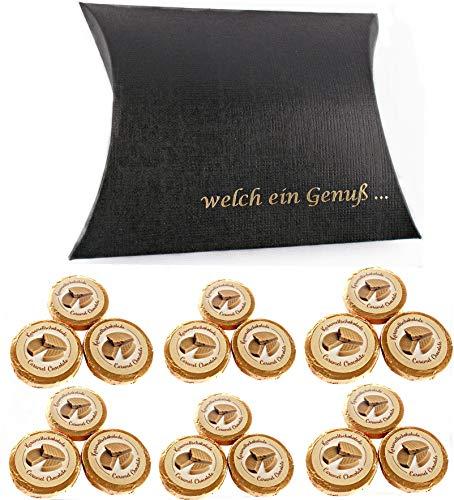 Karamell Taler 18 Gold Dublonen DreiMeister Schokolade in schwarzer Kissenschachtel
