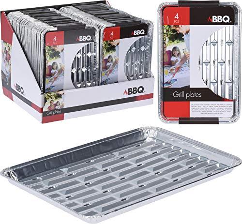 Smart Planet® 4er Set Grillschalen aus Aluminium - Hitzebeständige Alu Schale zum Grillen - 24 x 16 x 1,5 cm - Grillzubehör für Gasgrill