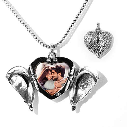 Amlion Personalized Photo Necklace-Heart Necklace Angel Wings Necklaces -Custom Couple Necklace for Women Men -3 Colors