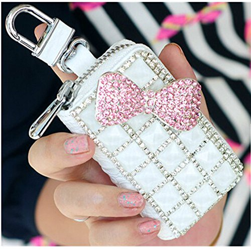 EVTECH(TM) Universal Car Smart Key Chain Leather Holder Cover Case Fob Remote 3D Handmade Luxury Shining Glitter Crystal Diamond Rhinestones (100% Handcrafted) (Pattern-A1)