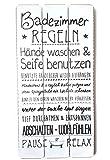 Bada Bing Plankenschild Badezimmer Regeln ca. 60 x 30 cm Deko Wandbild Holz Schild Vintage 18