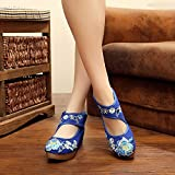 RHH Shop Tobillo Wrap Women Lienzo Plataformas Planas Handmad Flor Algodón Bordado Old Pekín Zapatos Redondos Toe Zapatos Casuales (Color : Blue, Size : 38 EU)