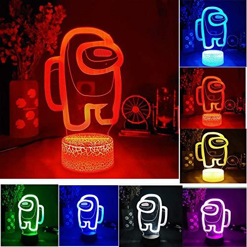 Among Us Acrylic Night Light 3D Illusion Led Lamp,LOGO 3D Illusion Desktop Lamp Coffee Table (1Pcs)
