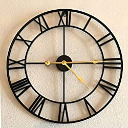 Large Wall Clock, Vintage Antique European Industrial Decorative Metal Roman Wall Clock, Silent Battery Operated Skeleton Iron Wall Clock for Living Room, Den, Farmhouse, Loft - 18 Inch, Golden Hands