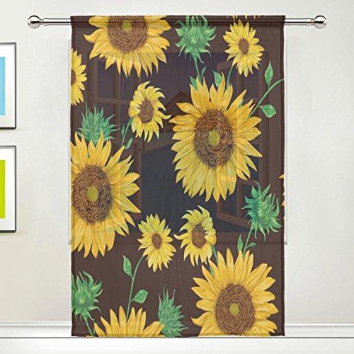 Use7 Vorhang mit Sonnenblumen-Motiv, Shabby-Chic-Stil, 139,7 x 213,4 cm, 1 Stück, Moderne Fensterbehandlung, für...