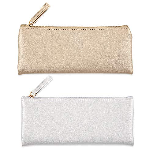 EONMIR PU Leather Pencil Cases Pouch Bag with Zipper, Small Simple Pencil Pouches, Makeup Pouch, Cosmetic Pouch(Gold+Silver)
