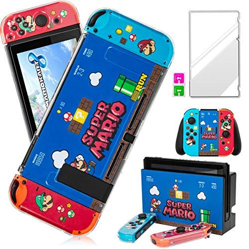 Darrnew Mario Skin per Nintendo Switch Cartoon Cute Fun Skins, Kawaii Unique Kids Girls Women Switch Game Sticker, divertente design alla moda con e pellicola in vetro temperato per Nintendo Switch