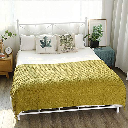 XUMINGLSJ Blanket Double/Twin Size Fleece Bed Blankets Warm Fluffy Reversible Microfiber Solid Blankets for Bed and Couch -Olive green_172cm*127cm