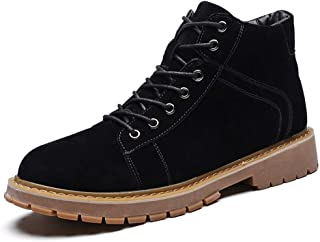 JIANFEI LIANG Men's Ankle Boot Retro Work Boots Casual Faux Suede PU Leather Lace up Burnished Style Stitching Anti-slip Lug Sole Work or Casual Wear (Color : Gray, Size : 41 EU)