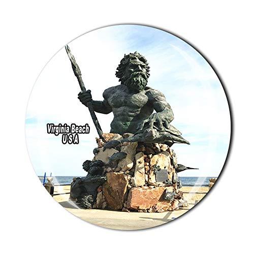 Virginia Beach USA - Imán para nevera de viaje, regalo de recuerdo de cristal 3D para decoración del hogar y la cocina