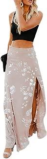 Imily Bela Womens High Waisted Chiffon Flowy Vintage Skirts Side Split Long Maxi Bottom