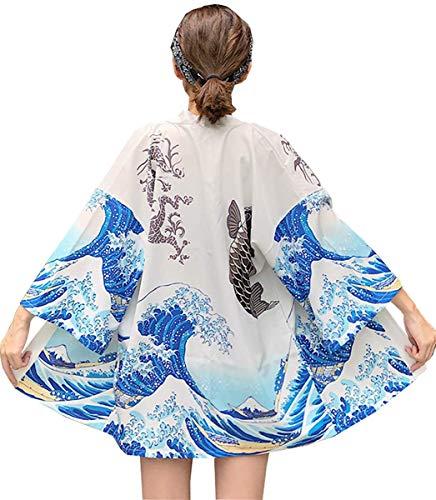 DOVWOER Sommer Damen Kimono Cardigan Strand Bikini Cover Up 3/4 Arm Lose Casual Leichte Jacke, Weiß, ONe Size(EU 36-46)