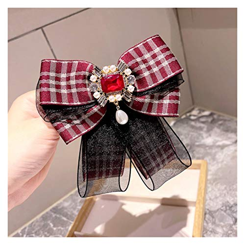 Xx101 Brooch Trendy Women Plaid Ribbon Brooch Bow Tie Korean Double Lace Collar Flower Necktie for Ladies Uniform Dress Stewardess Jewelry (Metal color : Wine Red)