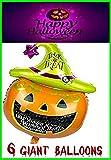 RMCtrends? reg; - Globos extragrandes con diseño de calabaza gigante, para fiesta de Halloween - 105 x 65 cm (pack de 3)
