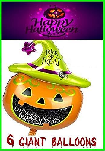 RMCtrends® [ Pack van 6 ] Top Kwaliteit Enorme Halloween Party Ballonnen Extra Grote Giant Pompoen folie Decoratie Props [105cm X 65cm]