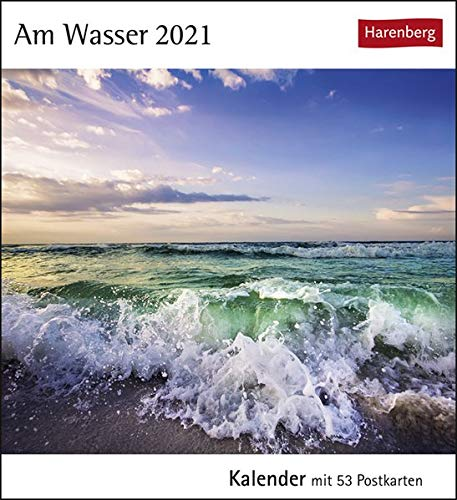 Am Wasser Postkartenkalender 2021 - Tischkalender mit Wochenkalendarium - 53 perforierte Postkarten zum Heraustrennen - zum Aufstellen oder Aufhängen - Format 12 x 15 cm