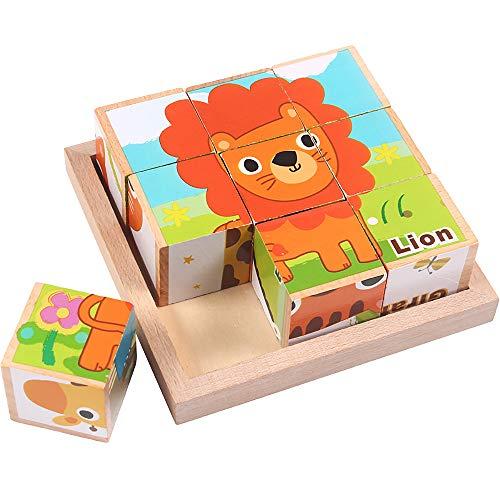 iKing キューブパズル 9コマ 3D立体パズル 木製 積み木 ブロック 動物6面 知育玩具 1歳 2歳 3歳 4歳 5歳 6...