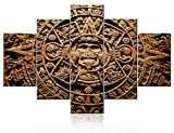 Multi Panel Wall Art Aztec Calendar Pictures Mayan Culture Poster Paintings on Canvas Living Room Home Modern Decor Ancient Mexican Artwork Giclee Framed Ready to Hang Poster and Prints(60''W x 40''H)