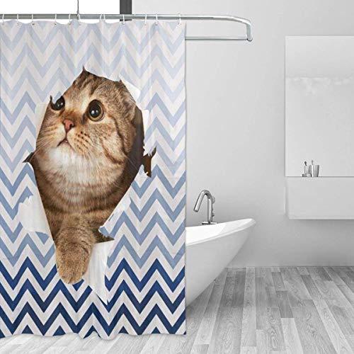Cat Break Out Blue Zickzack-Badvorhang wasserdichte, langlebige Badvorhänge Dicke, Leicht zu pflegene Badvorhänge für Badewannenstände Duschvorhang mit 12 Haken in Einheitsgröße