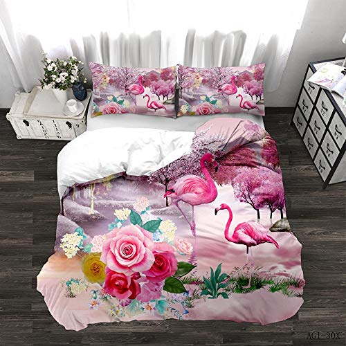 Duvet Cover Set Double (78.7x78.7 inch) Pink Bedding rose and flamingo Printed Ultra Soft Hypoallergenic Microfiber with Zipper Closure + 2 Pillowcases 20x29.5 inch