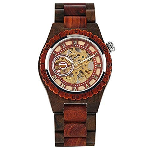 Ykop Holz-Armbanduhr für Herren, Klassische hohlen Automatik Mechanische Holztisch Herren Digital-Zifferblatt Holzuhr (Rot)