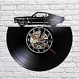 GYJCD Retro Classic Cars Wall Art Vinyl Record Reloj De Pared Transporte Arte De La Pared Automóvil Movimiento Silencioso Reloj Hombre Cueva Decoración