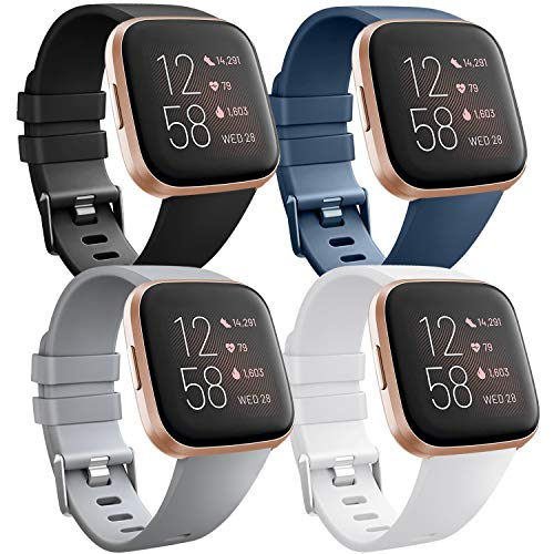 [4 Pack] Bands Compatible with Fitbit Versa 2, Fitbit Versa, Versa Lite/SE, Assorted Soft Silicone Patterned Wristbands Accessories for Women/Men, Small/Large (Large, Black/Gray/Blue/White)