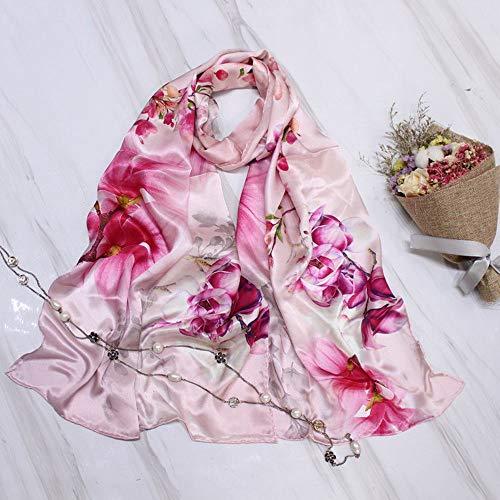 Xingling 100% Seide bedruckter Schal der Frauen/Schal/Strand Sonnencreme, antiallergische Art und Weisequalitätsschal 175 * 55cm,BLCE-04