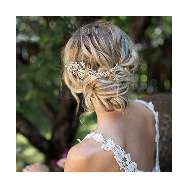 Gorais Bride Wedding Hair Comb Silver Crystal Bridal Hair Pieces Flower Hair Accessories...