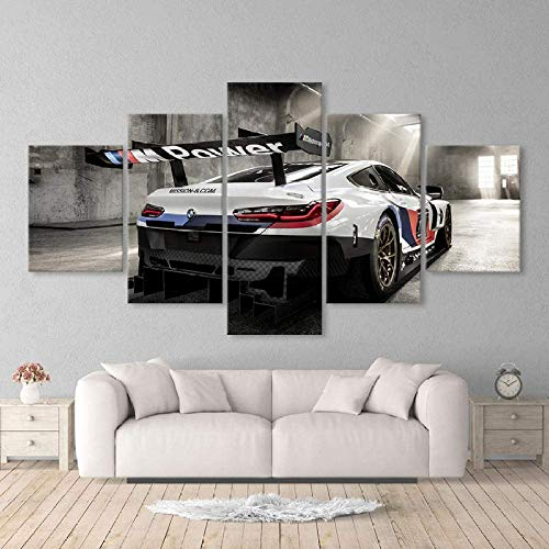 Bibilongbk frame, 5-part multi-panel sports car plate, BMW M3 printing plate XXL, printed table on canvas, table decoration, A-shaped pentagon, wall decoration (100x50 cmwithout frame)
