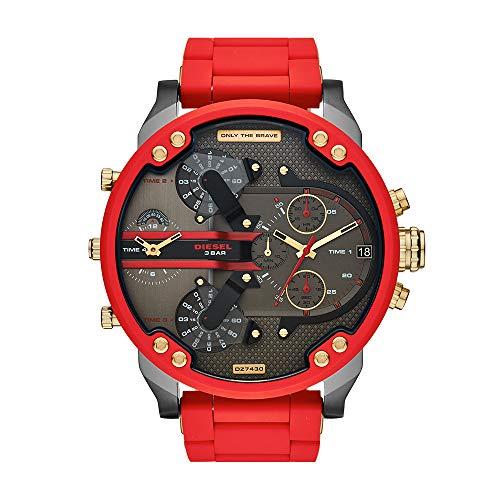 Diesel DZ7430 Reloj Diesel Caballero, Extensible Combinado Rojo, Caratula Gris, Analogo for Accesorios, Rojo, Hombre Estándar