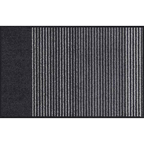 Salonloewe Fußmatte waschbar 50x75 cm anthrazit-grau (RAL 7016) Schmutzfangmatte mit Streifen Fußabtreter Sauberlaufmatte gestreift Türvorleger grau
