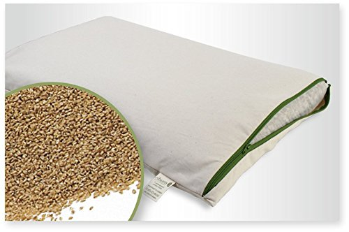 Bio Hirseschalen Schlafkissen G.O.T.S Gr: 40x80cm, weich und stützend, Füllung in einem extra Bio Baumwolle Innennetzt