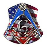 SARA NELL Masonic Faith Hope and Charity Freemason Logo American Flag Design Neck Gaiter Headwear Face Sun Mask Magic Scarf Bandana Balaclava Headband for Men Women Cycling Fishing Motorcycling