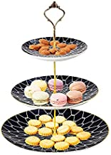 CofeLife 3 Tier Ceramic Cake Stand - Elegant Dessert Cupcake Stand - Pastry Serving Tray Platter for Tea Party, Wedding and Birthday (Black Gold)