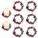 Sirozi - Juego de 6 velas de Navidad, diseño de baya roja de 3 pulgadas, para decoración rústica de mesa de Navidad (sin velas)