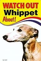 WATCH OUT Whippet 画像イラストサインボード:ウィペット 英語看板 イギリス製 Made in U.K [並行輸入品]