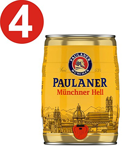 4 x Paulaner Munich hell 5 liters beer barrel vol 4,9%