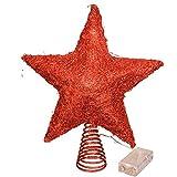 LAWOHO Árbol de Navidad Topper Star 10 Pulgadas Brillante Adorno de árbol de Navidad Rojo Fiesta Interior Decoración del hogar Apto para árbol de Navidad de tamaño Ordinario