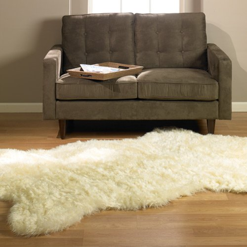 Walk on Me Classic Faux Fur Sheepskin Rug in Ivory - Pelt Shape - New Made in France (2x4, 3x5 or 5x7) (2x4 (Actual 28' x 43'))