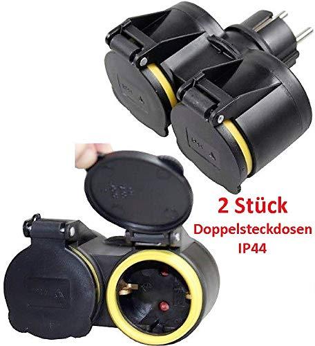 Schutzkontaktkupplung GUMMI Doppel Schuko Kupplung IP44 STECKER,S XX?