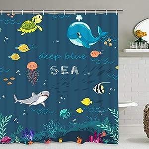 Smurfs Yingda Underwater Sea Creature Animal Shower Curtain with 12 Hooks, Deep Blue Ocean Fish Turtle Shark Whale Jellyfish Shower Curtain for Bathroom