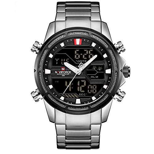Relógio de Quartz à Prova d'àgua com calendário e display NAVIFORCE-9138S - Prateado - 60