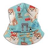 Nother Omeranian Paris Dog Raza – Pañuelo de microfibra azul sin costuras resistente al viento, aislante para el cuello, a prueba de viento, bufanda para la cabeza a prueba de polvo
