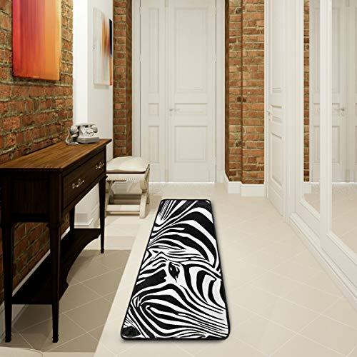 Mnsruu Zebra schwarz weiß gestreifte Kollektion Bereich Teppich Teppich für Wohnzimmer Schlafzimmer Küche 61 cm x 182,88 cm