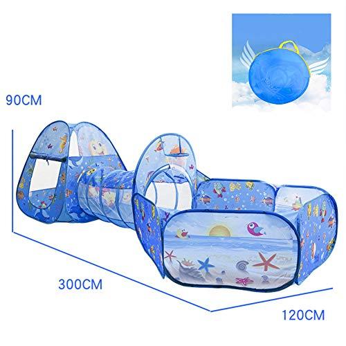 3 in 1 Ocean Tunneltent voor kinderen, 1 Play Kids-tunnel 1 Kasteeltent en 1 ballenbak met basketbalring. 118 * 47 * 45 inch,Blue