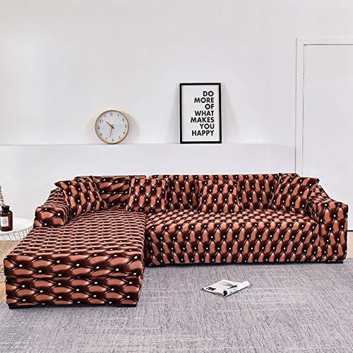 WXQY Funda de sofá elástica para Sala de Estar, Funda de sofá con patrón de Sarga Antideslizante, se Puede Utilizar para el sofá Chaise Longue en Forma de L A17 de 2 plazas