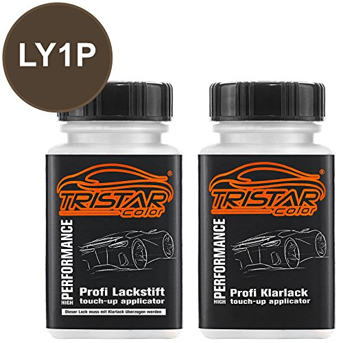 TRISTARcolor Autolack Lackstift Set für VW/Volkswagen LY1P Dakotagrau Metallic Basislack Klarlack je 50ml