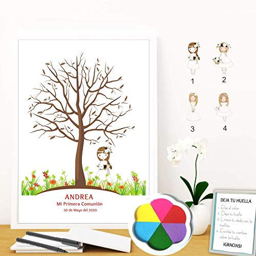 Didart Handmade Cuadro de árbol de huellas personalizado para Comunión. 4 modelos de niña a elegir. Tintas e instrucciones incluidas. Varios tamaños y colores de marco. MODELO VINTAGE