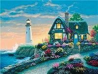 DIY 数字 油絵 塗り絵 キット 大人 子ども 塗り絵 灯台の家 デジタル油絵 手塗り 数字キットによる絵画 絵かき インテリア 壁飾り ホームデコレーション 40x50cm(額縁なし)